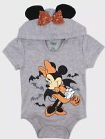 NWT BABY GIRL MINNIE MOUSE HOODED HALLOWEEN BODYSUIT/ SHIRT SIZE 0-3 MONTHS