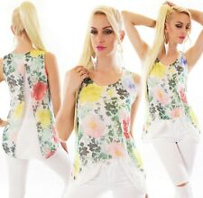 ITALY Süßes Damen Blusen Long Top Shirt Tunika Ärmellos Chiffon Blumen 36-40