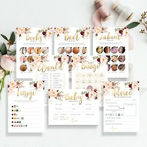 FLORAL BABY SHOWER GAMES Boho Unisex Predictions Who Knows Mummy Favours Bingo