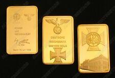 A Set of 3pcs Nazi Cross Empire Eagle Gold Plated Commemorative Bars/Coins Token