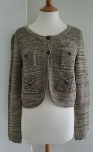 M&S LIMITED COLLECTION - SILVER/GREY SPARKLE CROPPED CARDIGAN - UK: 12 -...