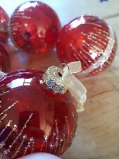 5 Red And Gold Glass Glitter Baubles 8cm Approx.