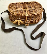 Collectible Fishing Creel Basket Decor Container Wicker Decorative Woven Gift