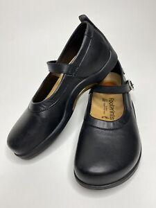 Women's BIRKENSTOCK Footprints Black Leather Mary Jane Loafers •Size 37 *EUC