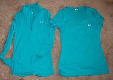 Women's Under Armour GREEN  half zip heat gear loose jacket size XS w/ top shirt