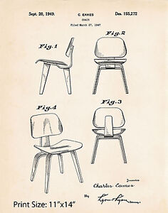 "Retro Mid Century Furniture Designer Patent Print Eames Modern Chair 11""x14"""