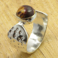 925 Silver Plated Fabulous Mookaite HAMMERED Ring Size 6 Handmade Jewellery NEW