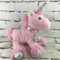 Animal Adventure Pink Unicorn Plush Soft Doll Silver Horn Floppy Stuffed Animal