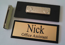Employee Name Tags Gold on Black Frame w/ magnetic (magnet) attachment 1x3