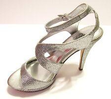 womens silver dress shoe 8.5 sandal Pageant ,Wedding Prom Glitter Strappy heels