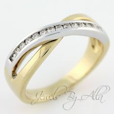 14K (Solid, Unplated) Two-Tone Gold Womens Diamond Criss-Cross Ring