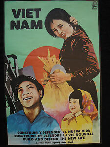 OSPAAAL Political Poster VietNam Build and Defend the new Life 1982 Art VIET NAM