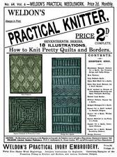 Weldon's 2D #64 c.1890 - Practical Knitting Patterns Counterpane Quilt Pieces