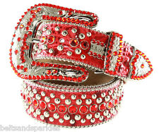 BB Simon Swarovski Crystal Red Leather Belt 34 L New