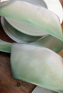 """Vintage Ribbon Rayon Acetate 1.5"""" Ombre wire Green White 1yd Made in France"""