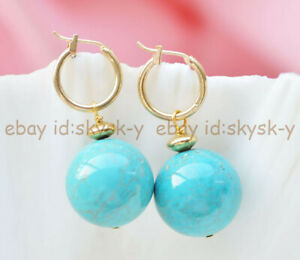 20mm Natural Blue Turquoise Round Beads Dangle Gold-plated Leverback Earrings AA