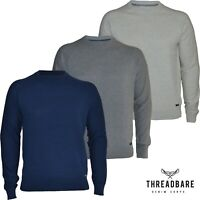 Mens Threadbare Jumper Thin Knit Cotton Crew Neck Casual Sweater Top New