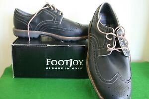 NEW! FOOTJOY MEN'S CHARCOAL LEATHER WINGTIP SHOES – UK SIZE 10XW (EU44.5) BOXED