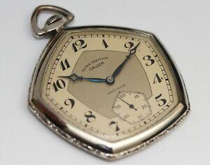 Pentagonal Art Deco 1920s vintage Gruen White Gold pocket watch - Excellent