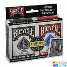 4 DECKS BICYCLE RIDER BACK STANDARD INDEX 2 BLACK 2 RED PLAYING POKER CARDS USA
