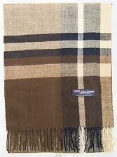 100% Cashmere Scarf Brown Beige Check Tartan Plaid SCOTLAND Wool Women H74-5