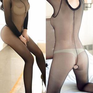 Women Bodystocking Open Crotch Long Sleeves Body Stocking Bodysuit Pantyhose