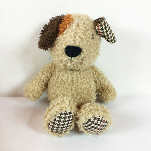 """A132 Lambs & Ivy Curly Bow Wow Puppy Dog Houndstooth Plush 13"""" Stuffed Toy Lovey"""