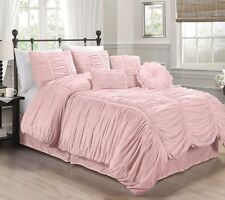 Chezmoi Collection 7pcs Shabby Chic Ruffle Ruched Duvet Cover Set Queen, Pink