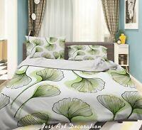 3D Green Ginkgo Leaf Quilt Cover Sets Pillowcases Duvet Comforter