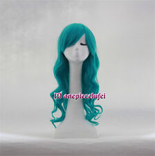 Emerald long wavy Dark Turquoise Anime Cosplay hair Wig