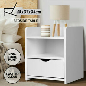 New Bedside Tables Drawers Side Table Bedroom Furniture Nightstand White