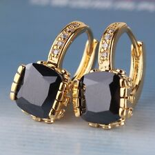 Princess leverback black sapphire 24k yellow gold filled CHARMING earring