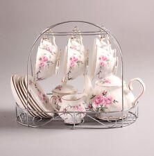 Bone China Gold Pink Camellia Printed Ceramic Porcelain Tea Cup Tea Set With ...