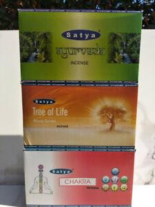 incenso SATYA indiano bastoncini SERIE CHAKRA aura AYURVEDA albero della vita