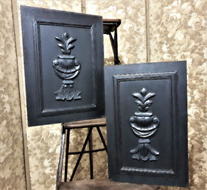 2 Black painted acanthus leaf carving panel Antique french architectural salvage