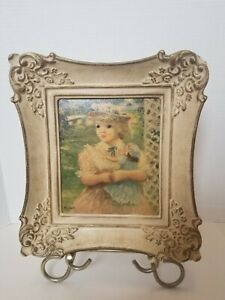 "Vtg. Little Sister Doll Jeffe Huldah Painting Print Art Neavou Frame White 11""H"