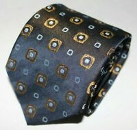 """HUGO BOSS black with gold hue and gold circles 100% woven silk 3.5"""" x 56"""" ITALY"""