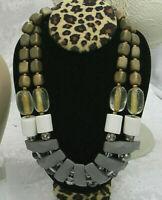 """Vintage UNIQUE 16"""" Necklace Multicolor AB crystals Wood rhinestone STATEMENT acr"""