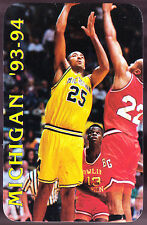 1993-94 MICHIGAN WOLVERINES BASKETBALL POCKET SCHEDULE JUWANN HOWARD ON COVER
