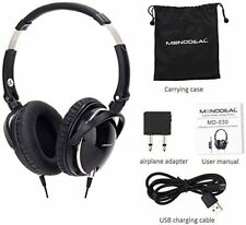 Active Noise Cancelling Headphones with Mic, MonoDeal Over Ear Earphones Black