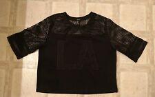 Forever 21 Women's Black Mesh Fishnet LA Short sleeve Shirt sz Large Los Angeles
