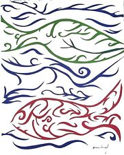 """ORIGINAL ART Signed Ink Drawing - Abstract -- Colourful Fish in Ocean  """"Go Fish"""""""