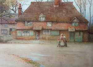 1906 Antique print Witley, Surrey. Cottage with people in Edwardian dress. 1518