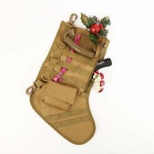 1× Molle Christmas Stocking Tactical Sock Storage Tactical Pouch Storage Bag Tan