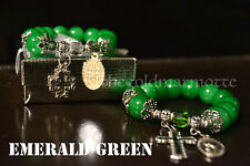 Elegant Glass Rosary Bracelet (Emerald Green)