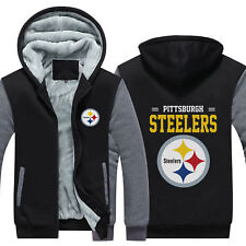 Pittsburgh Steelers Hoodie Fleece zip up Coat winter Jacket warm Sweatshirt