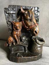 ANCIENNE STATUE TERRE CUITE  POLYCHROME VIDE POCHE ANIMALIER