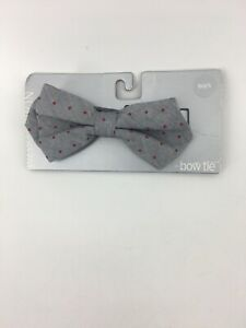 Nordstrom Boys Gray Red Polka Dots Bow Tie One Size