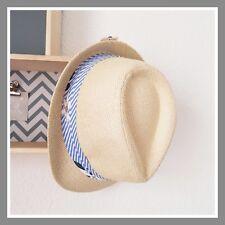 Borsalino chapeau vacances plage effet paille tissu fleuri bleu motif fleur