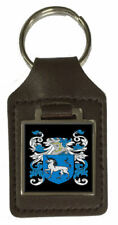 Deare Family Crest Surname Coat Of Arms Brown Leather Keyring Engraved
